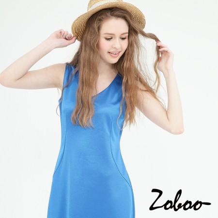 【晶輝】Q5011-無袖藍色連身裙