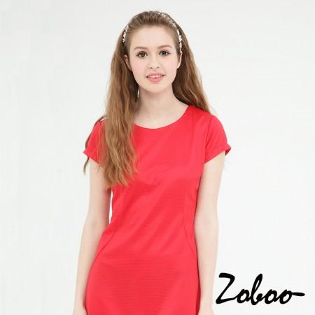 【晶輝】Q5027-圓領素面紅色連身裙