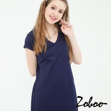 【晶輝】Q5028-V領素面短袖丈青連身裙