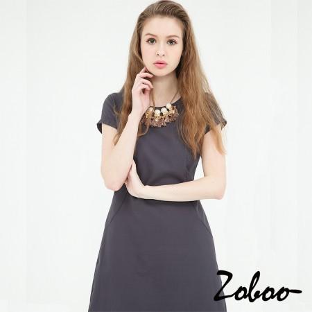 【晶輝】Q5030-圓領素面短袖灰色連身裙