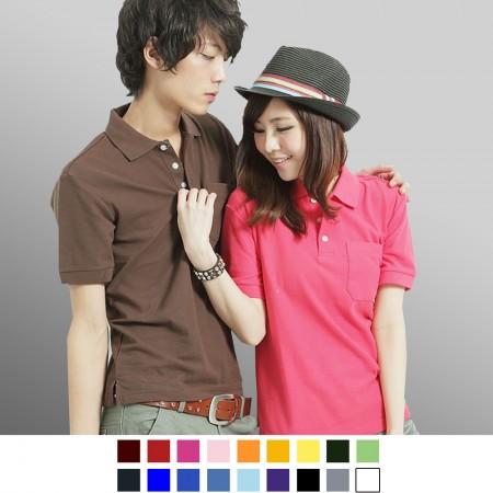 【晶輝】P0124-高磅數素面口袋短袖POLO