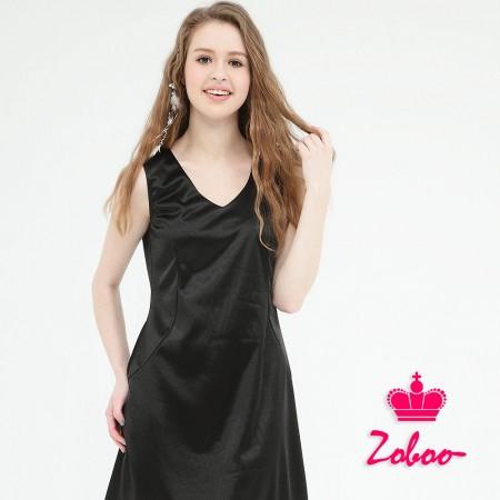 【晶輝】Q5012-無袖黑色連身裙