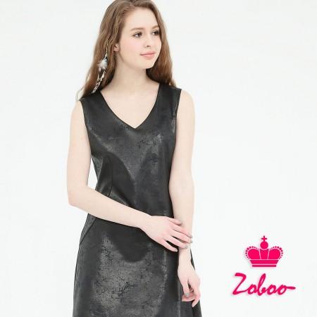 【晶輝】Q5013-V領無袖爆裂感連身裙