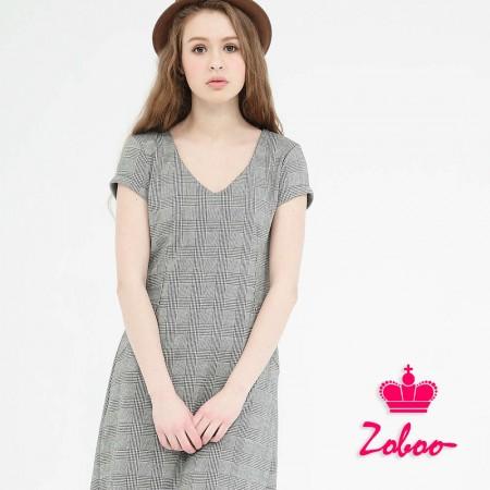 【晶輝】Q5014-V領格紋連身裙