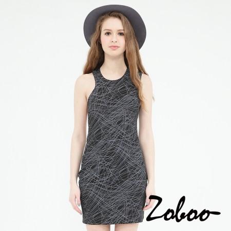 【晶輝】Q5015-不規則削肩挖背線條連身裙