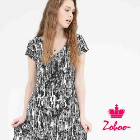 【晶輝】Q5016-V領短袖斑紋女裝連身裙