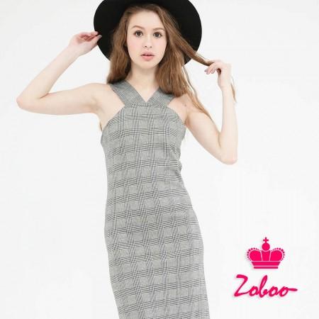 【晶輝】Q5017-肩帶格紋連身裙