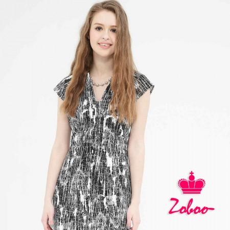 【晶輝】Q5020-U領短袖斑紋連身裙
