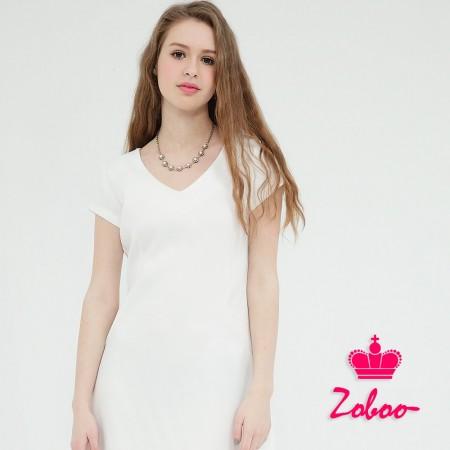【晶輝】Q5021-V領短袖白色連身裙