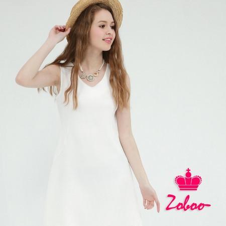 【晶輝】Q5023-V領無袖白色連身裙