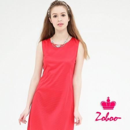 【晶輝】Q5029-圓領無袖素面紅色連身裙
