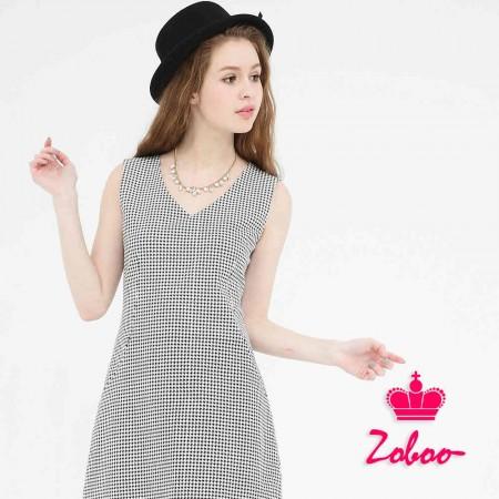 【晶輝】Q5036-V領無袖小千鳥格連身裙