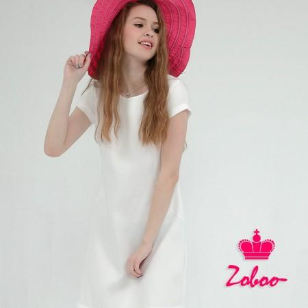 【晶輝】Q5046-圓領短袖白色連身裙