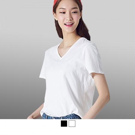 【晶輝】SL033-V領純棉彈性素面T恤