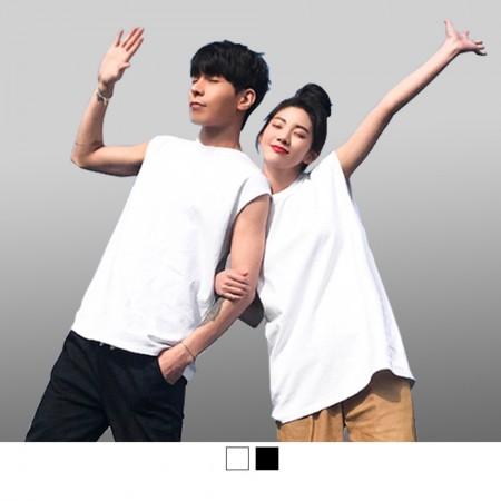 【晶輝】T1636-台灣製造純棉帥氣無袖T恤