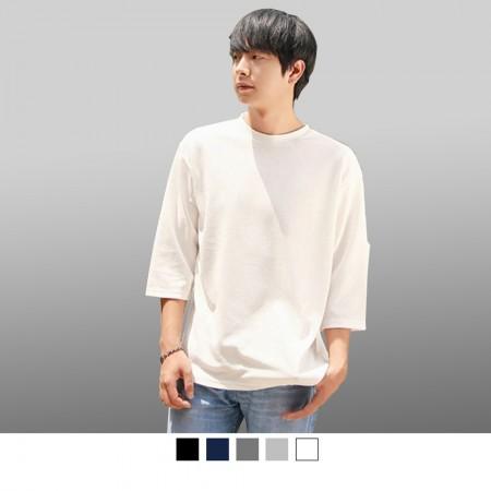 【晶輝】T7802-高磅純色素面精梳棉七分袖T恤5色