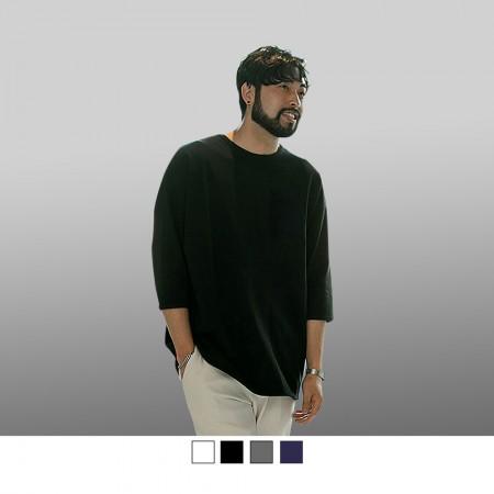 【晶輝】T7809-台灣製造高磅純色素面精梳棉加口袋七分袖T恤4色