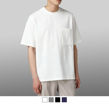【晶輝】T7810-台灣製造高磅純色素面精梳棉加口袋五分袖T恤4色
